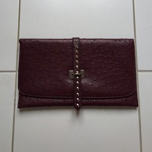 Clutches & Wallets - Maroon pebbled leather clutch
