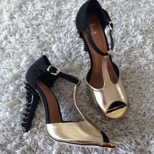 beau + ashe Shoes - Black/gold heels with spikes on heel