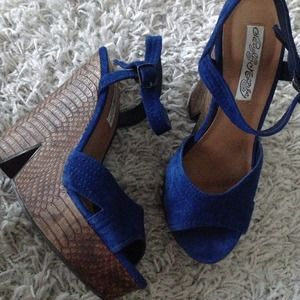 naughty monkey Shoes - Blue wedges by Naughty Monkey
