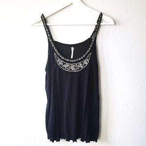 Free People beaded black tank top
