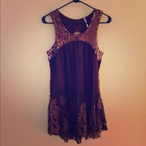 Free people top with embroidery, sequin detailing