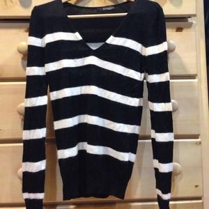 Mango black and white striped sweater