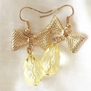 Charming Charlie Jewelry - Bow Earrings with Yellow Beads