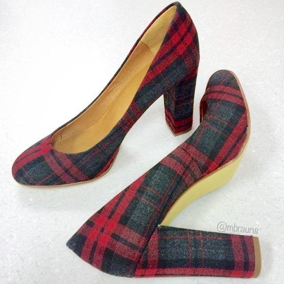 c355ba0cb J. Crew Shoes | Jcrew Factory Olive Plaid Tartan Wool Pumps | Poshmark