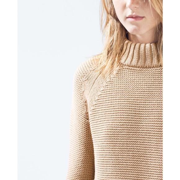 Zara Camel Chunky Knit Sweater