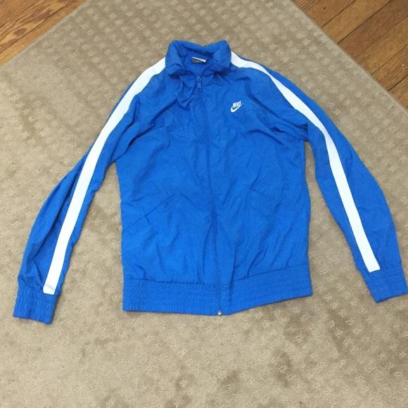 a385bb362cb4 Nike Full Zip Blue   White Stripe Track Jacket. M 568b2d303c6f9fd58500b732