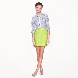 NEW J. Crew Mini Skirt in Embroidered Neon Floral