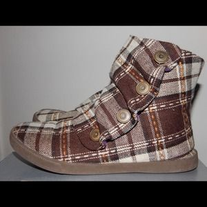 ALDO Brown and White Patchwork Booties