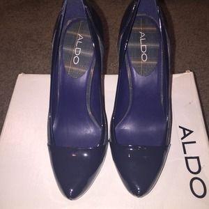 40f66c5d6df 7.5 38. ALDO Shoes - ALDO Navy Blue Plaid  Frusrous  Heels NWT!