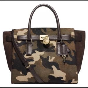 NWT Michael Kors Hamilton Large Camo Calf Hair