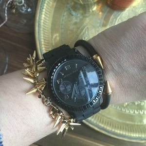 Michael Kors Black Ceramic Watch w/ Crystals