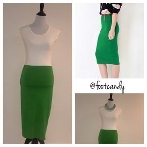ASOS Midi Jersey Pencil Skirt (Kelly Green)
