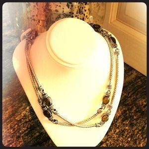 "Jewelry - Gorgeous 17.5"" of Silver and smokey quartz"
