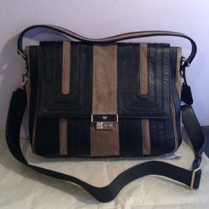 Anya Hindmarch Handbags - ANYA HINDMARCH SUEDE/LEATHER BEIGE/BLACK SATCHEL