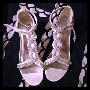 Ivory with gem heels. Never been worn-brand new