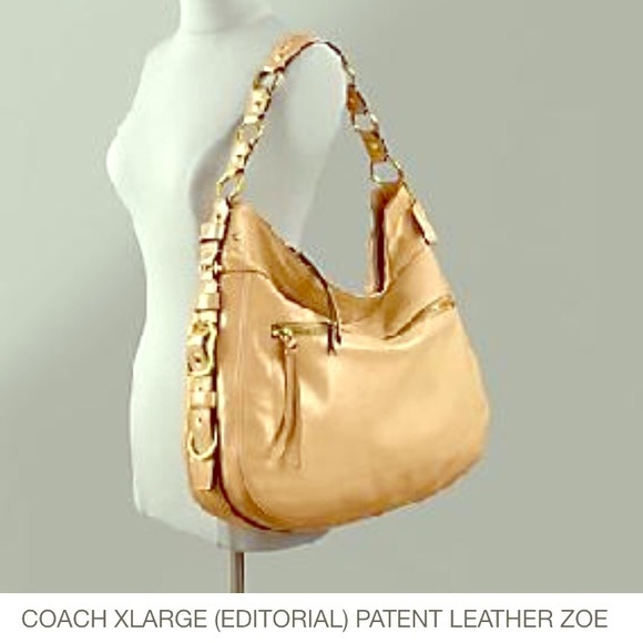 Coach Bags Nude Patent Leather Editorial Zoe Xl Hobo Poshmark