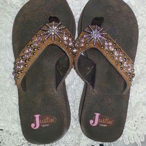 Justin jeweled sandals.