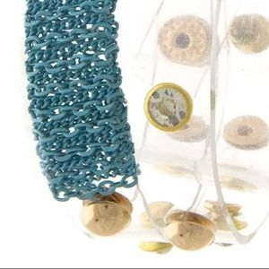 Be Seen Sales Jewelry - NEW** PVC Clear with Turquoise Accent