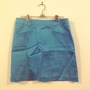 {SALE ITEM} Blue satin skirt from Cache!