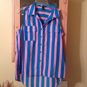 Blue and pink stripe sleeveless blouse