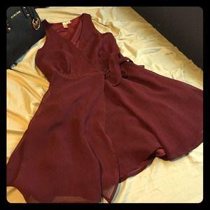 Deep-v maroon dress