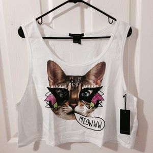 Forever 21 Tops - Cropped Graphic Tank Top