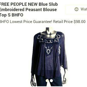 Free People boho embroidered peasant shirt