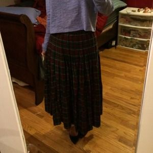 Vintage MARISA CHRISTINA plaid pleated long skirt