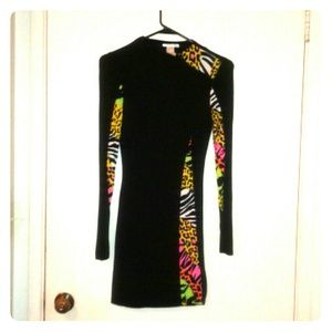 Black party dress with zebra print accents