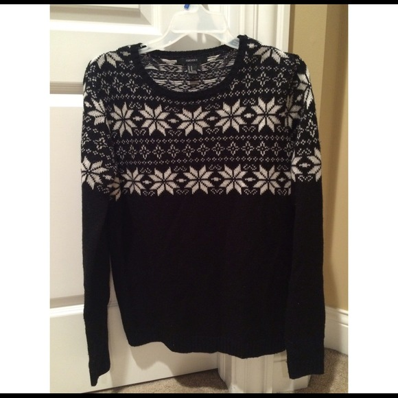 63% off Forever 21 Sweaters - Women's Black & White Fair Isle ...