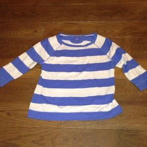 Merona blue and white striped knit shirt/ sweater