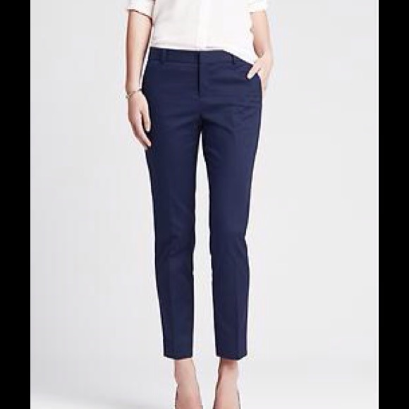Navy Blue ankle pants.