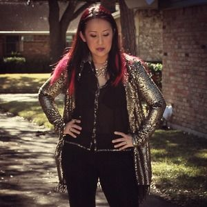 Free People Jackets & Blazers - Free People Stardust Sequin Gold Lace Blazer