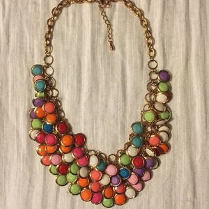 Gold and multicolored statement necklace