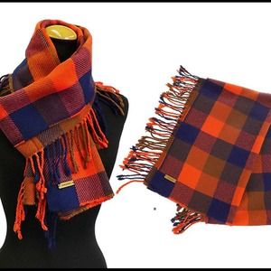 Coach Accessories - Coach Orange & Navy Plaid Fringe Cashmere Scarf
