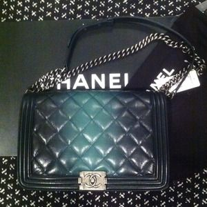 Chanel le boy bag! Green ombré! HP @drea04!