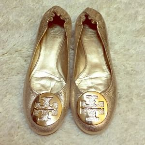 Tory Burch gold flats