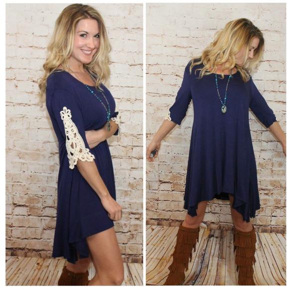 c06cb7dd2db Boho Tunic w  Inset Crochet Lace Sleeve