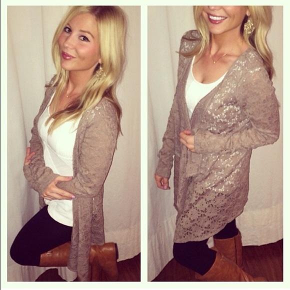 50% off Sweaters - 🎉HP 2.9.15 🎉 Taupe crochet waterfall cardigan ...