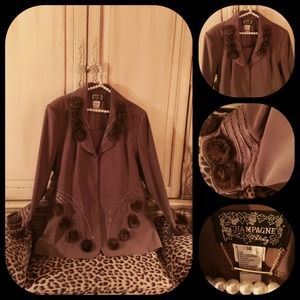 Champagne Jackets & Blazers - Exquisite cocoa-colored crepe beaded mink jacket