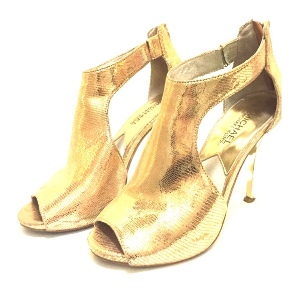 79% off Michael Kors Shoes - Michael Kors Metallic Gold Heels from