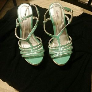sexy women's mint colored heels