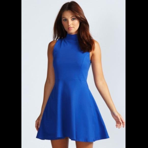 764f9fc6c Boohoo Dresses & Skirts - Boohoo Jess High Neck Sleeveless Skater Dress Blue