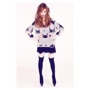 Wildfox White Label Cat Face Lennon Sweater