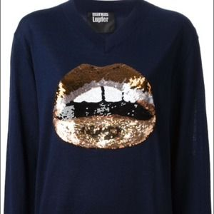 Markus lupfer Sweaters - 🎉HP!!!🎉Markus Lupfer blue sequin lips sweater xs