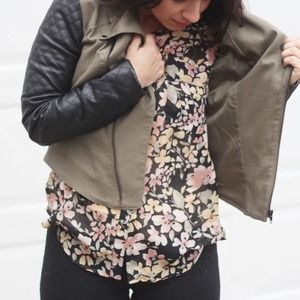 Walter Baker Jackets & Coats - Army Green Moto Jacket with Leather Sleeves
