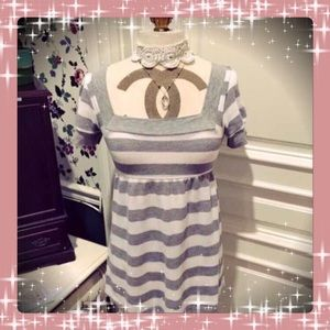 Fang Tops - Adorable Grey & White Striped Tie Back Tunic Top