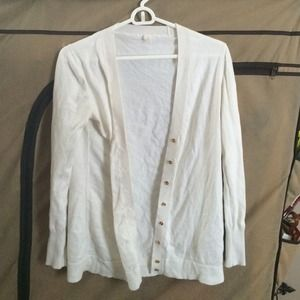 J Crew Cream Colored Cardigan with gold buttons