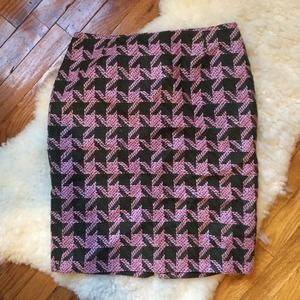 INC Pink & Green Houndstooth Pencil Skirt