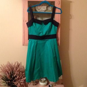 Emerald green dress with scallop hem